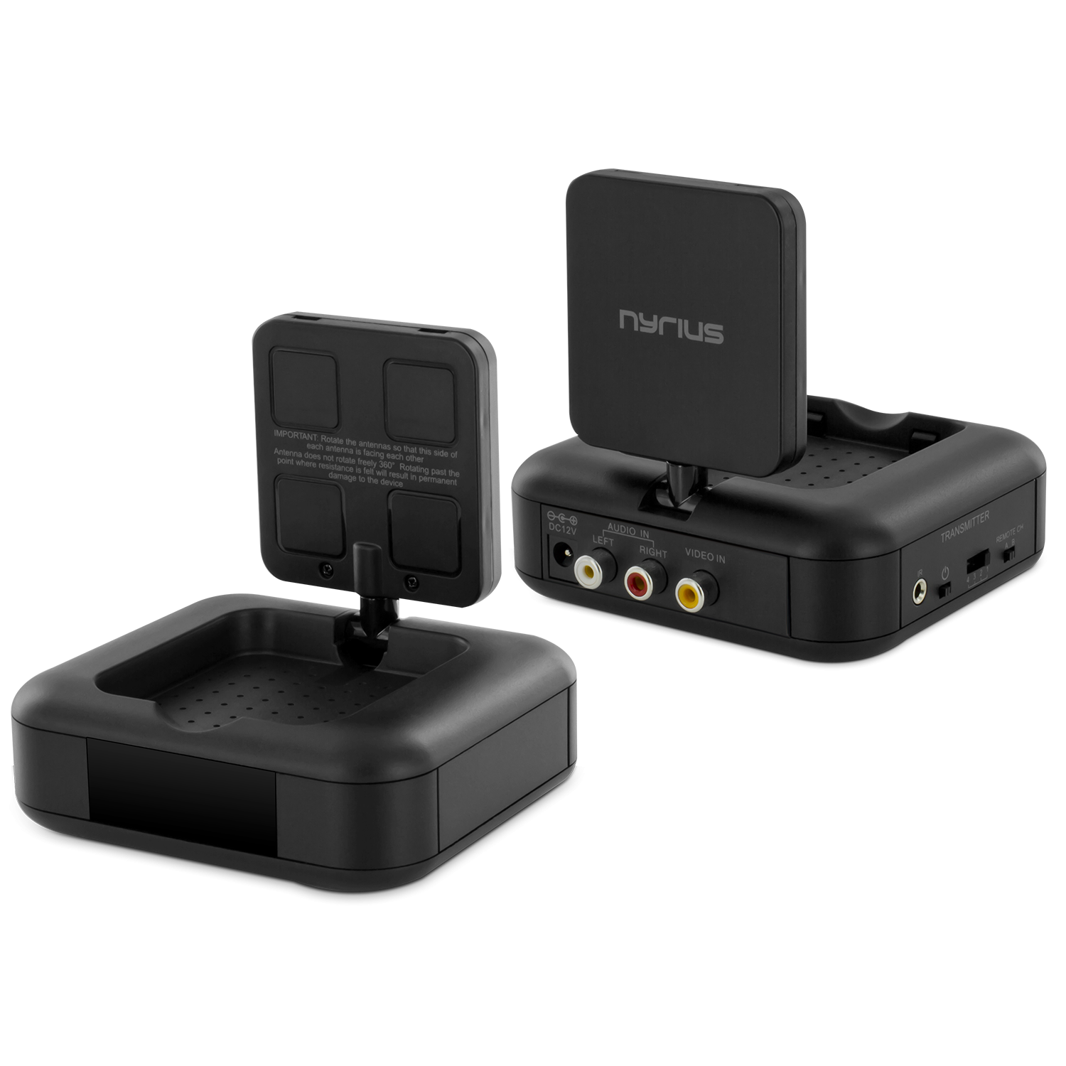 Nyrius wireless audio video transmitter and receiver system